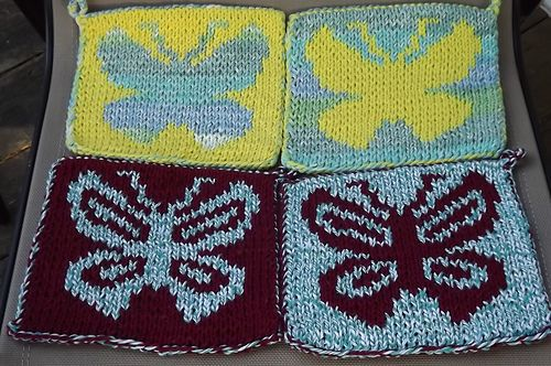 Double Knit Butterfly Hot Pad Pattern By Lauras Knits Knit Hot