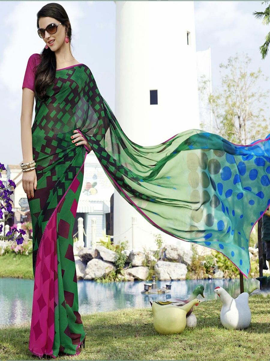 8dd56c5e05 Buy Latest (Green Georgette Printed Sarees, Party wear Sarees, Casual Wear  sarees) Online in India, Best Price Only at Wishcart.in. √Free Shipping √COD