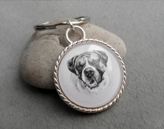 Boxer Key Ring Pet Drawing Pet Gift Boxer Keychain Dog by jsPetART