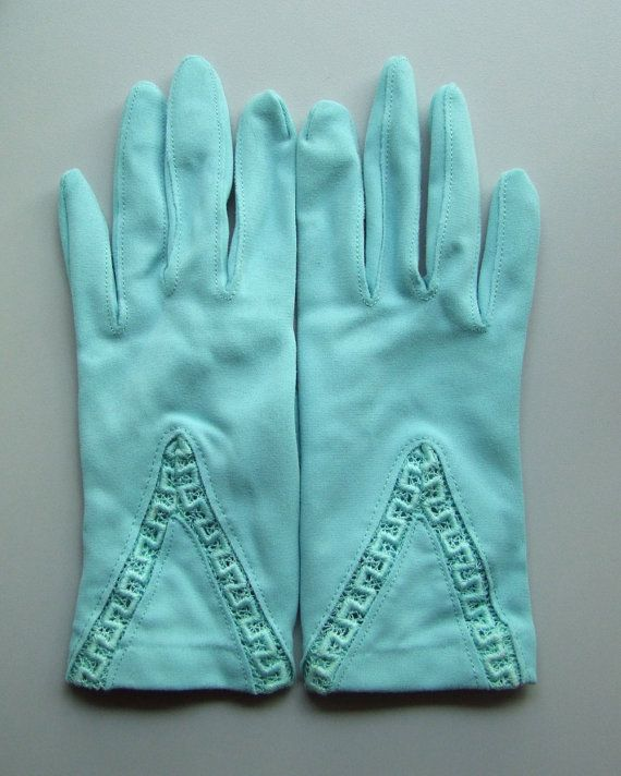 vintage aqua gloves