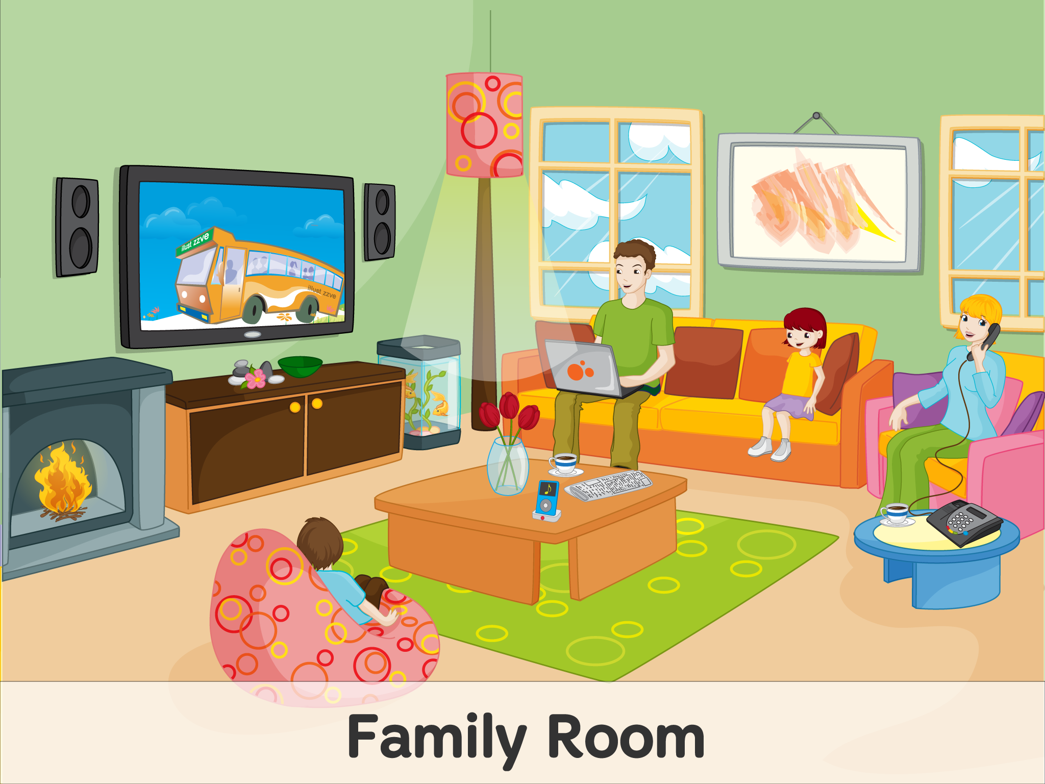 Family Room Spot The Difference Kids Picture Comprehension