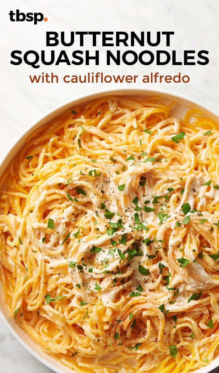 Butternut Squash Noodles With Cauliflower Alfredo Recipe Spiralizer Recipes Butternut Squash Recipes Healthy Recipes