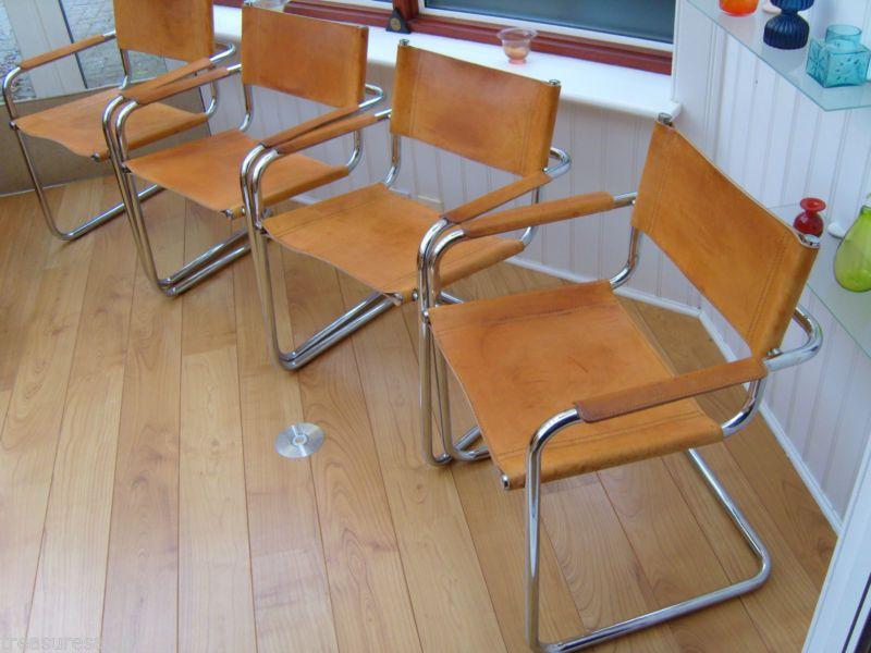 Italian Mart Stam Dining Chairs X4 Vintage Tan Leather Retro