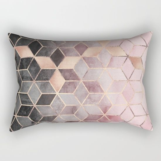 Pink And Grey Gradient Cubes Rectangular Pillow Rectangle Pillow Rectangular Pillow Cover Pillows