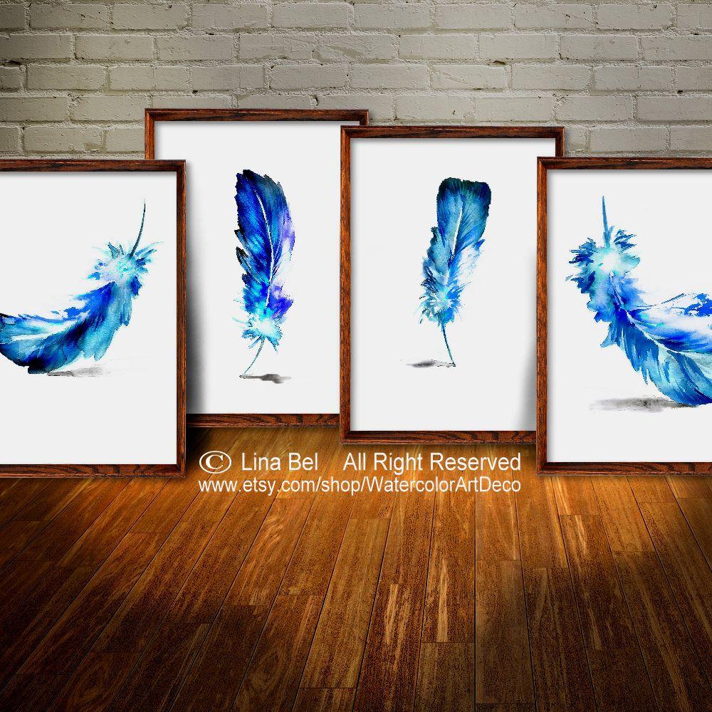 Feather art print feather wall decor gift art print set botanical