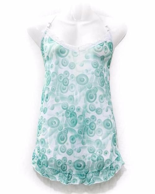 Women's Short Nighty Green & White