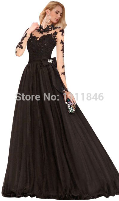 2a0fdd41e Barato Lindo colarinho alto Illusion Lace Overlay tule vestido de baile  preto Prom vestidos com mangas