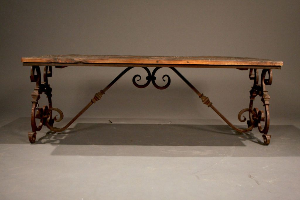 Coctail Table Iron Legs Ornate Wrought Wood Coffee