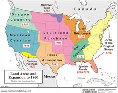 Westward Expansion Map of the U.S.a. | map Land Areas and Expansion ...