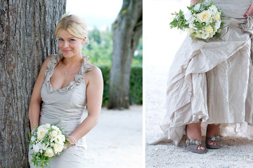 Farbige Brautschuhe, farbiges Brautkleid, weißer Brautstrauß ...