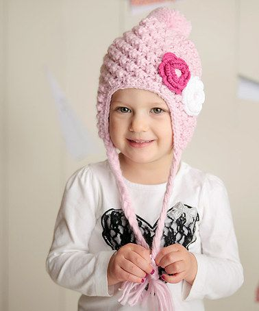 cc9093e937cb5 Look at this  zulilyfind! Pink Flower Snow Bunny Earflap Beanie crochet  inspiration