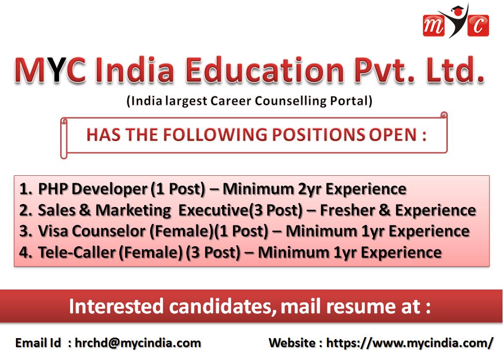 MYC India Education Pvt. Ltd. Sr. PHP Developer, Sales