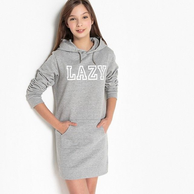 2a50631330de Robe sweat imprimée 10-16 ans La Redoute Collections gris chiné