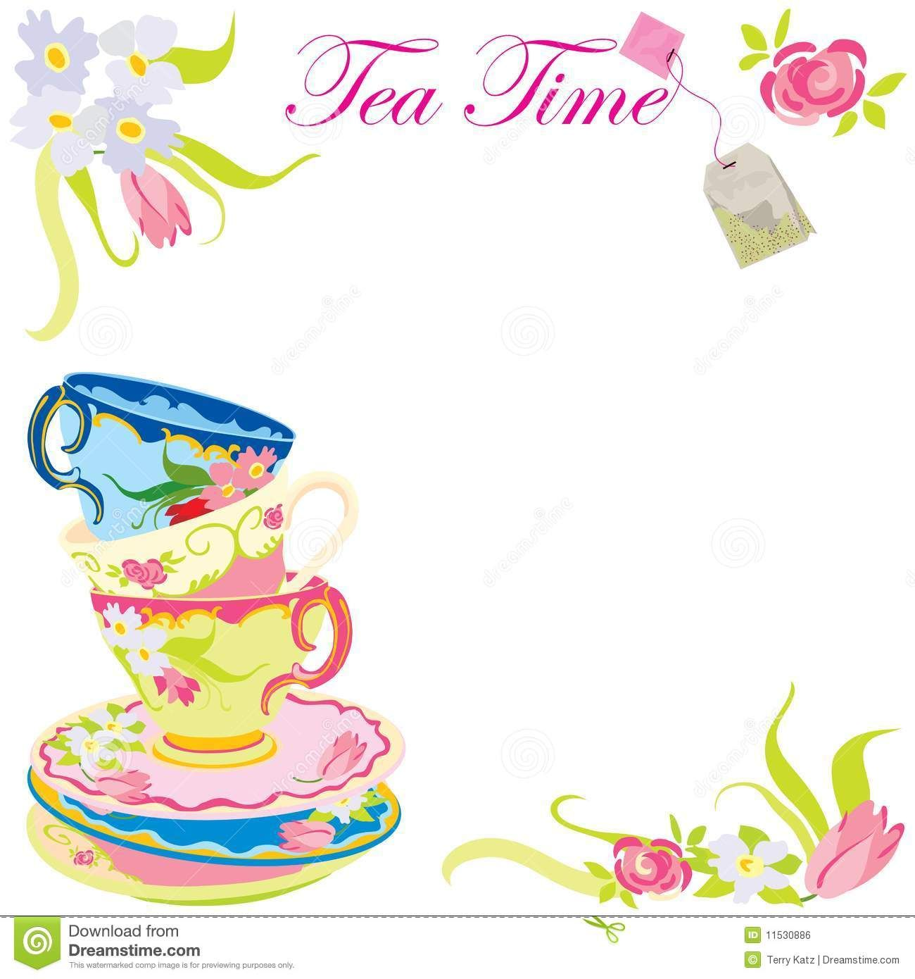 Invitation for afternoon tea stock vector image for Morning tea invitation template free