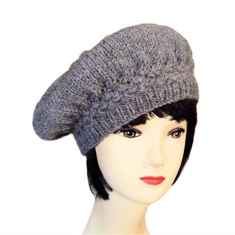 34537816a009e This Edwardian inspired womens beret is hand-knitted from a soft blend of  alpaca and wool. It features a cable stitch design with an oversized crown  and ...