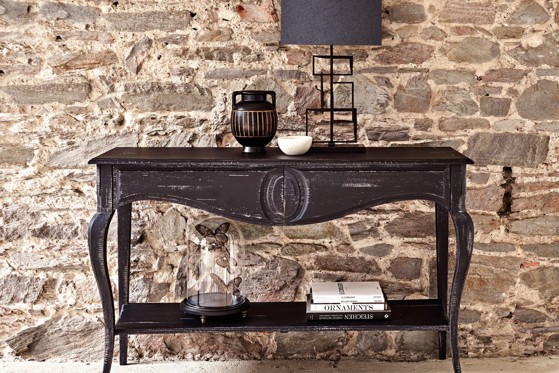 Zwarte Klassieke Sidetable.Black Sidetable Wooden Console Zwart Houten Wandtafel