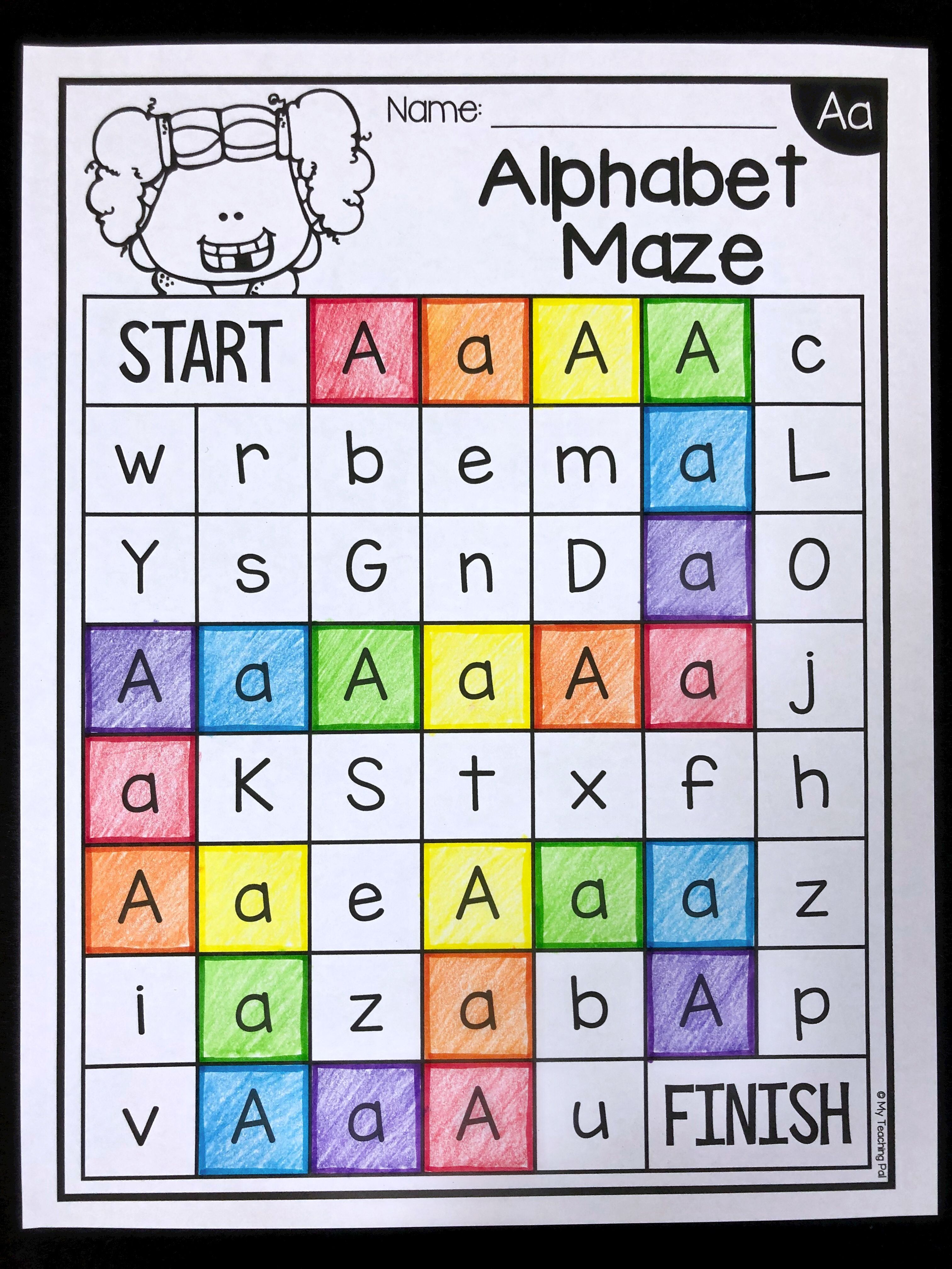 Alphabet Maze Worksheets Letter Recognition Alphabet Alphabet Activities Kindergarten Alphabet Preschool Alphabet Activities Preschool