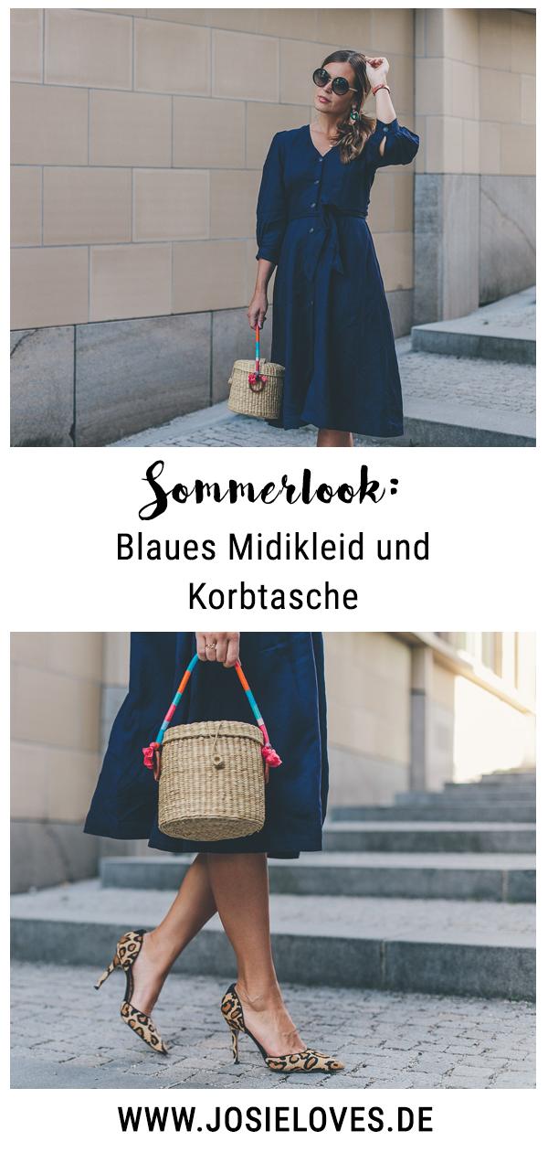 Sommerlook mit & Other Stories Midikleid und Korbtasche ...