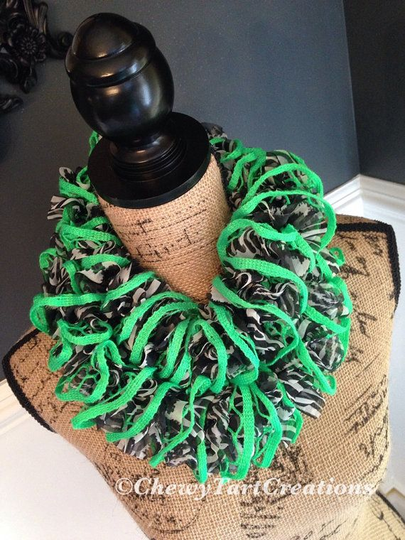 Neon Lime Green Zebra Ruffle Scarf by ChewyTartCreations on Etsy, $30.00