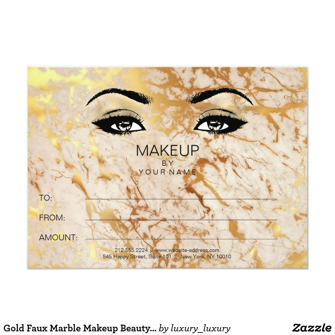 Gold Faux Marble Makeup Beauty Certificate Gift Card