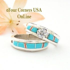 Size 8 Turquoise Pink Coral Engagement Bridal Wedding Ring Set Native American Wilbert Muskett Jr WS
