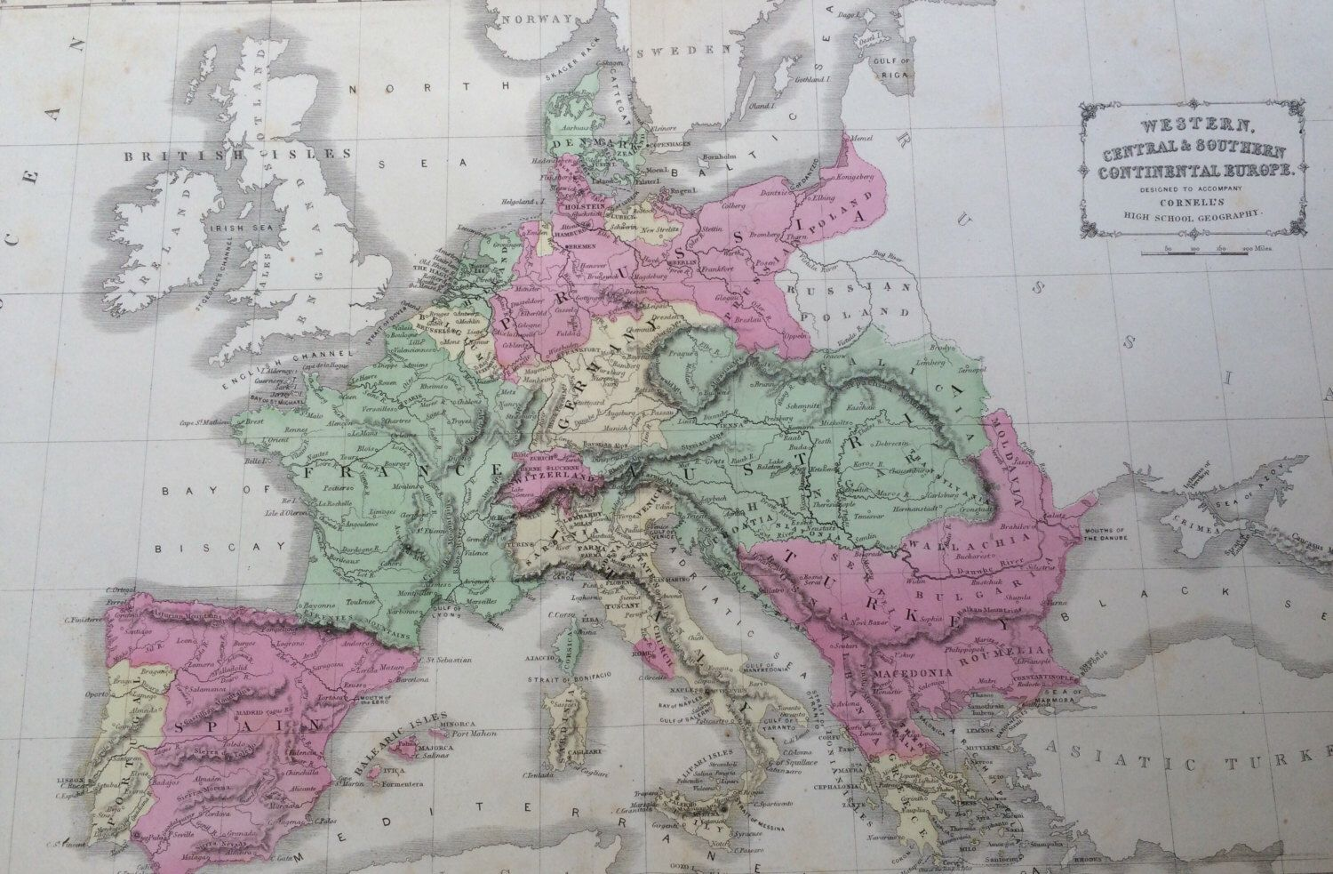 1869 EUROPE Rare Original Antique Map 22