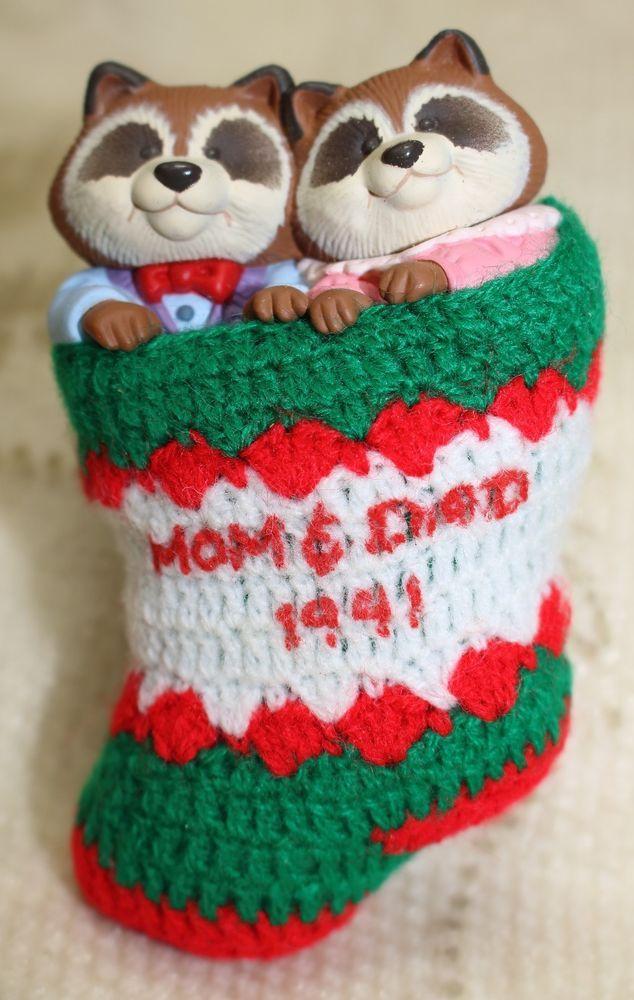 Vintage 1991 Hallmark Keepsake Mom Dad Racoon Stocking Christmas Tree Ornament