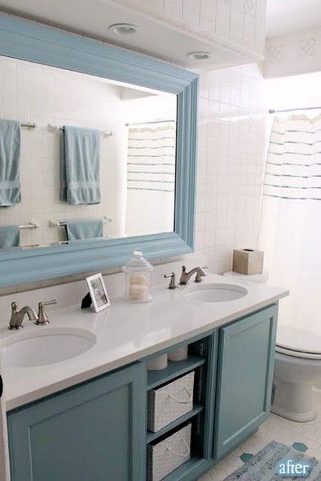 Got a big boring bathroom mirror frame it with some - How do you frame a bathroom mirror ...