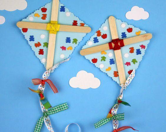 Popsicle Kite Craft Stick Crafts For Kids Summer Crafts Crafts