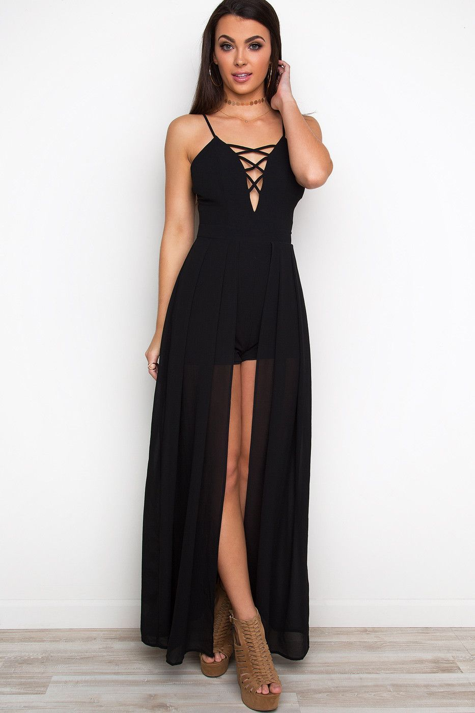 0310b502687 A Night To Remember Maxi Romper - Black