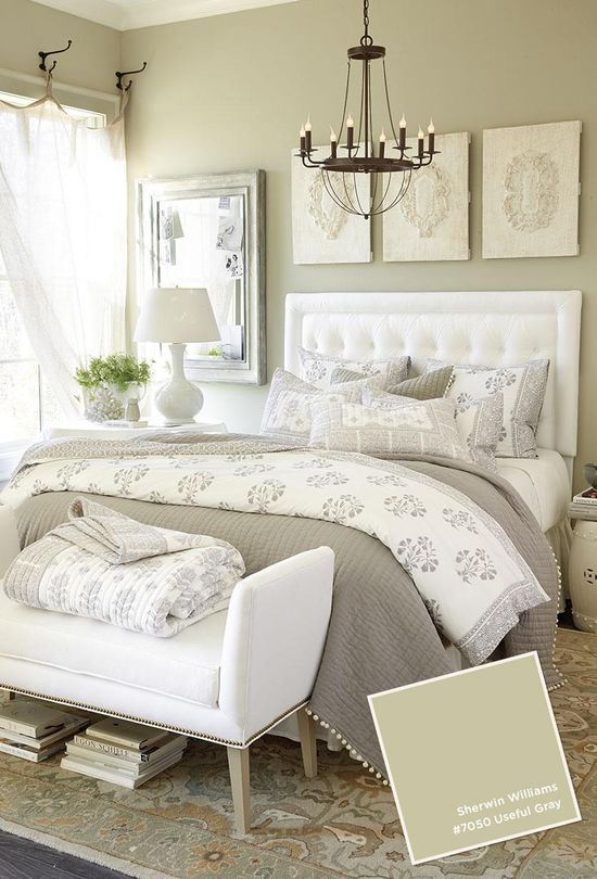 Neutral bedroom with Useful Gray wall color from Benjamin #BedRoom ...