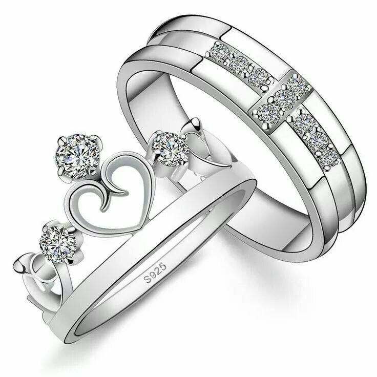 925 Argent Sterling Amoureux Heart engagement couples Bague de Promesse de Mariage Bande