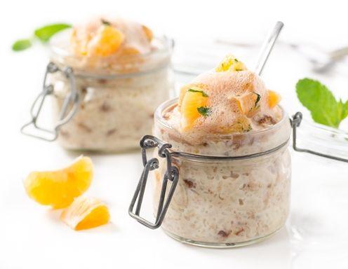 Milchreis mit Mandarinen-Salat und Schokoschaum