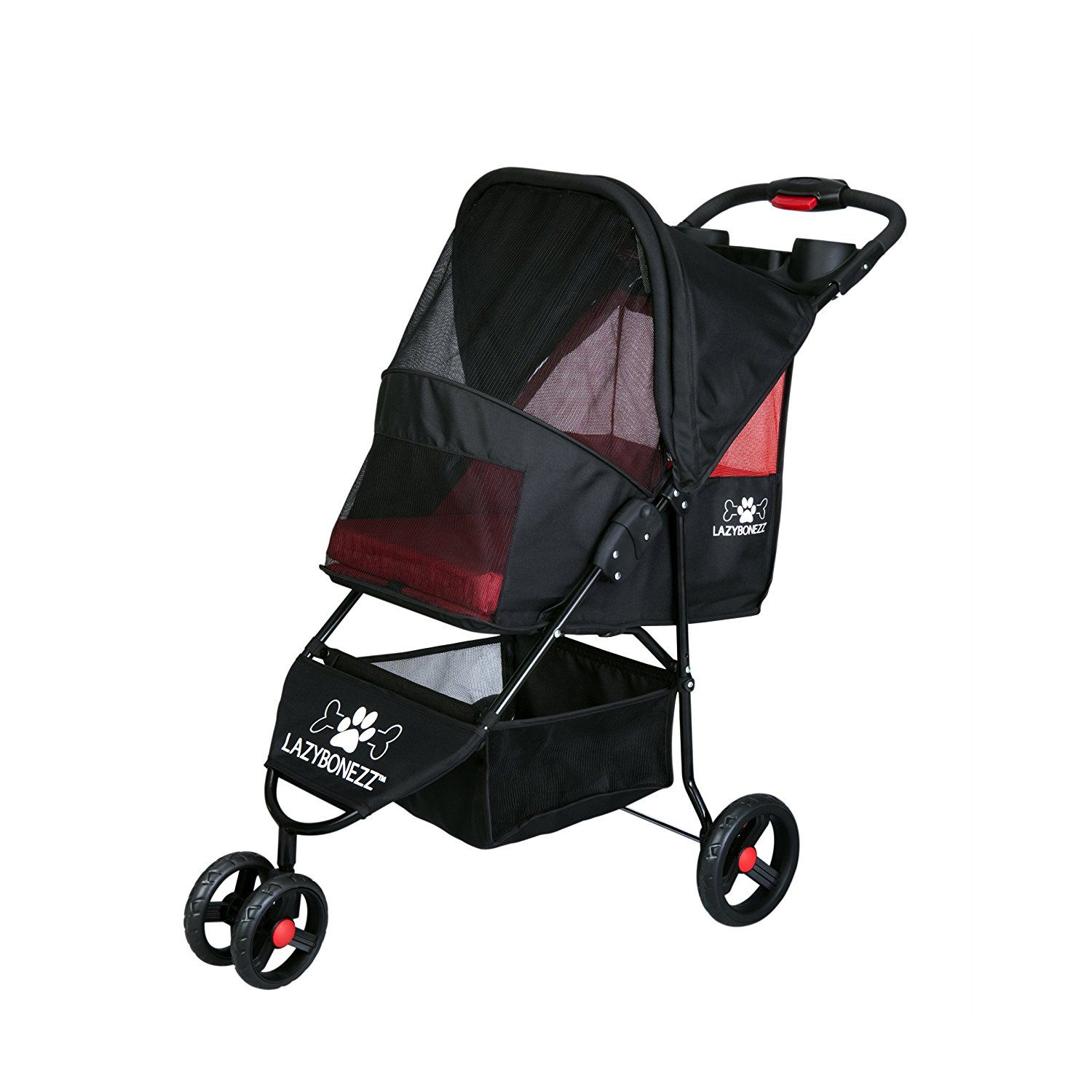 The Lazy Jogger Pet Stroller Collapsible pet jogger with machine washable pad Includes cup holders and storage