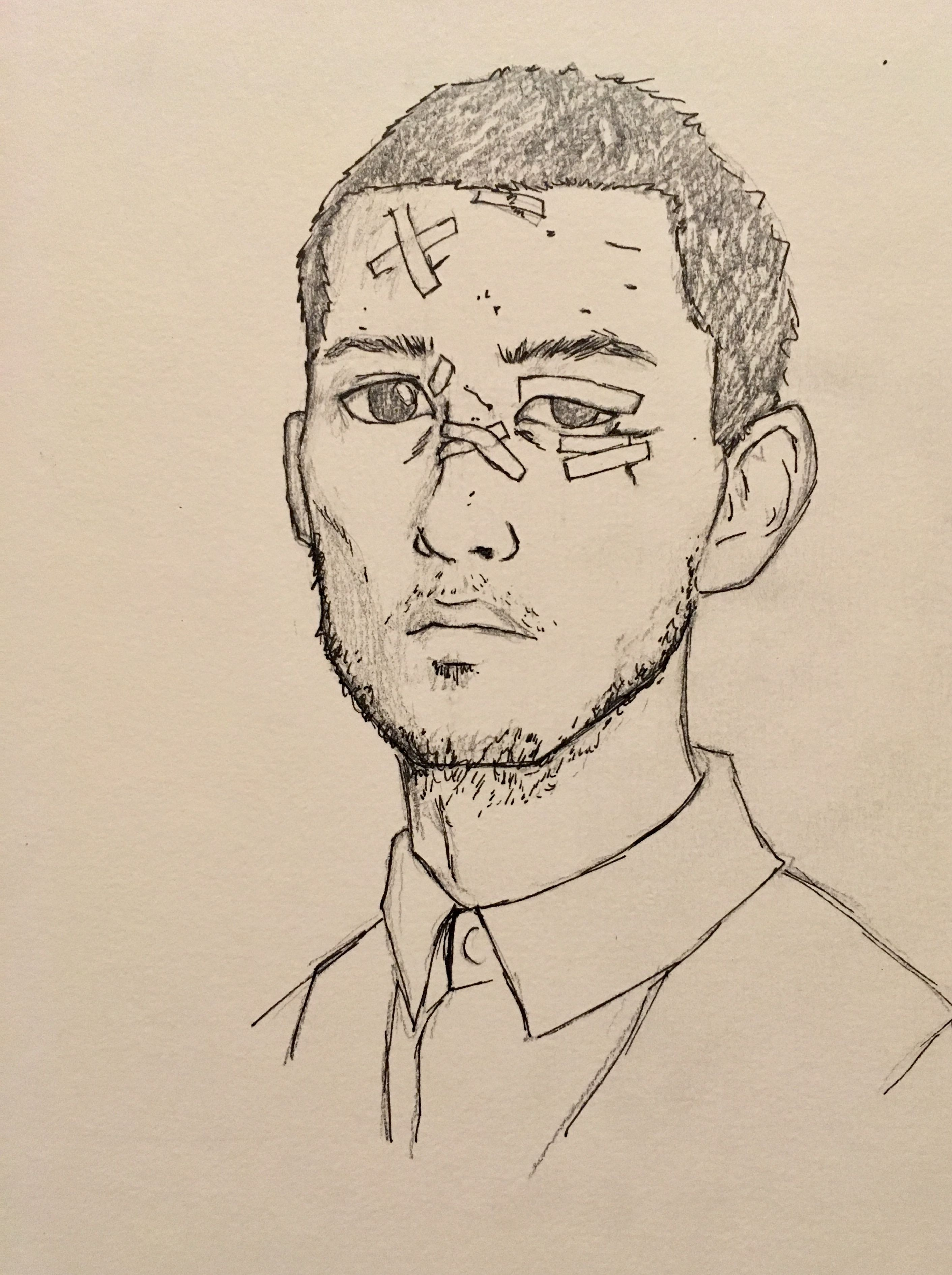 Drawing Of A Picture Of A Beautiful Beat Up Man Done By Yours Truely Rachel Sanders Drawings My Drawings Art Studies