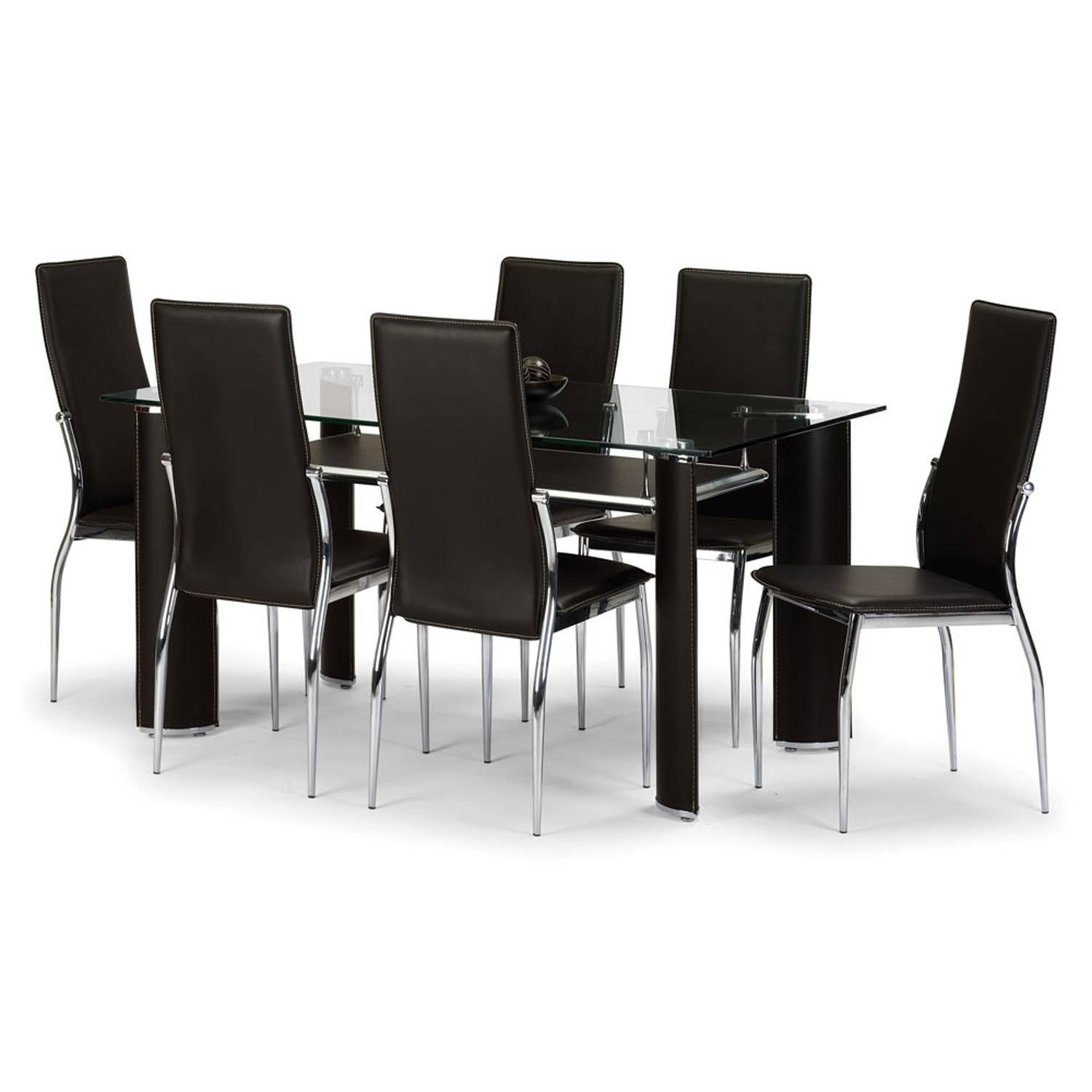 Boston Brown Faux Leather And Chrome Dining Table And 6 Dining Entrancing Glass Dining Room Table Sets Inspiration