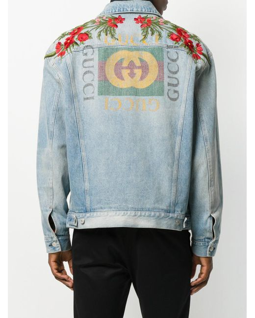 84ab06512 Men's Blue Modern Printed Logo Denim Jacket | Gucci | Denim jacket ...
