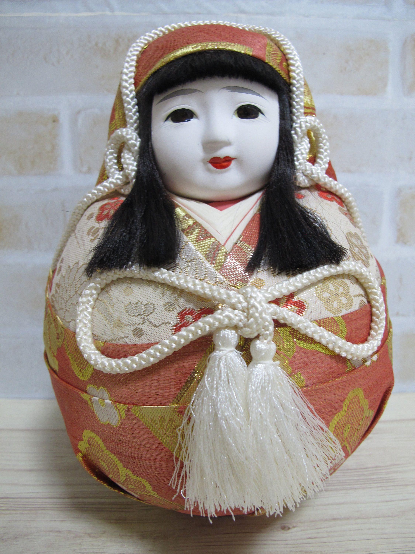 ON SALE Vintage Handmade Traditional Round Hime Daruma Doll