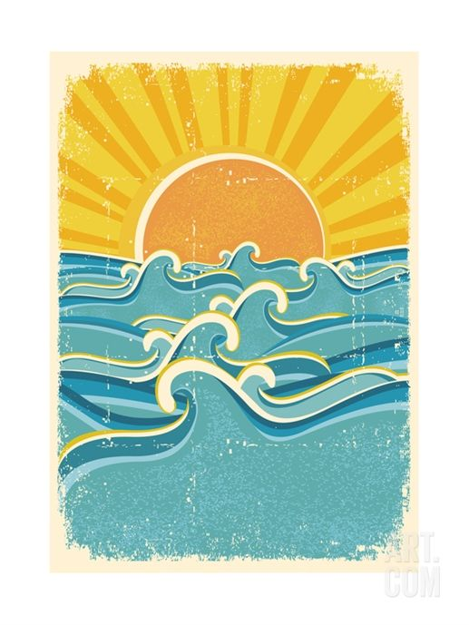 Sea Waves And Yellow Sun On Old Paper Texture Vintage Illustration Print By Geraktv At Art Com Sun Illustration Wave Art Surf Art