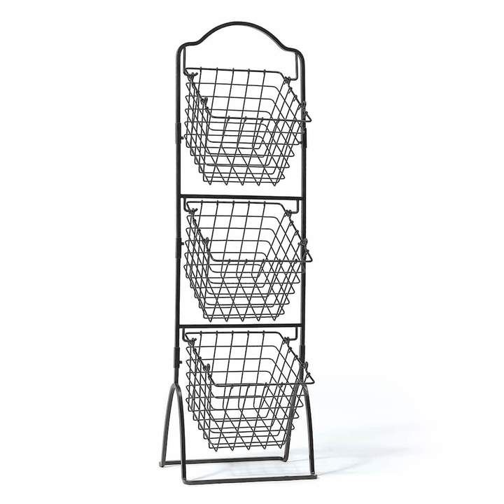 Gourmet Basics General Store 3 Tier Market Storage Basket Stand Market Baskets Wire Storage Fruit Storage
