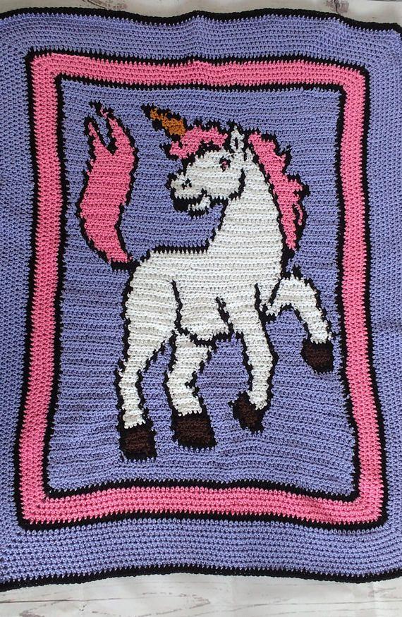 Unicorn blanket, crochet blanket, baby blanket, crochet ...