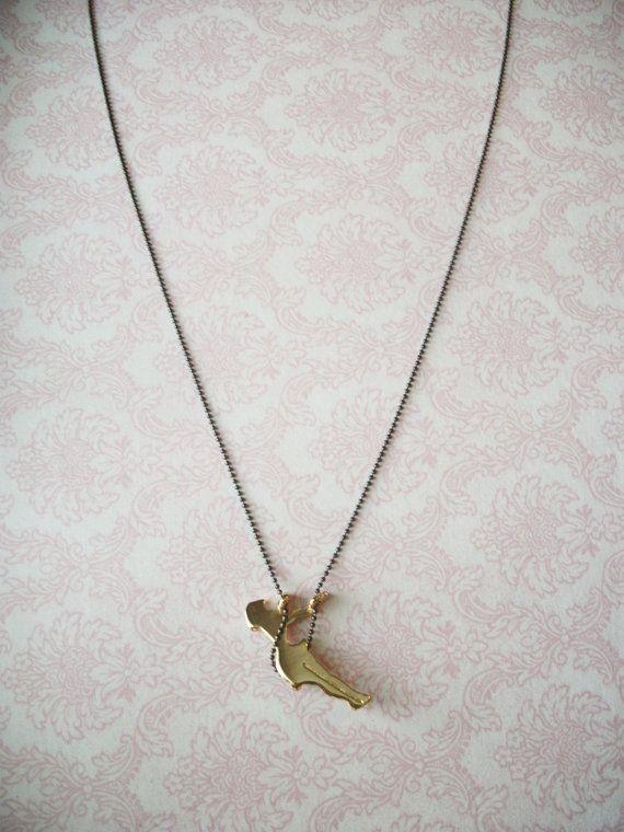 Handmade Gold Swinging Girl Necklace by RosetteBelles on Etsy, $15.00