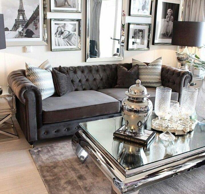 Dark Grey Tufted Sofa | Glam Living Room, Silver Living Room, Glamour Living Room