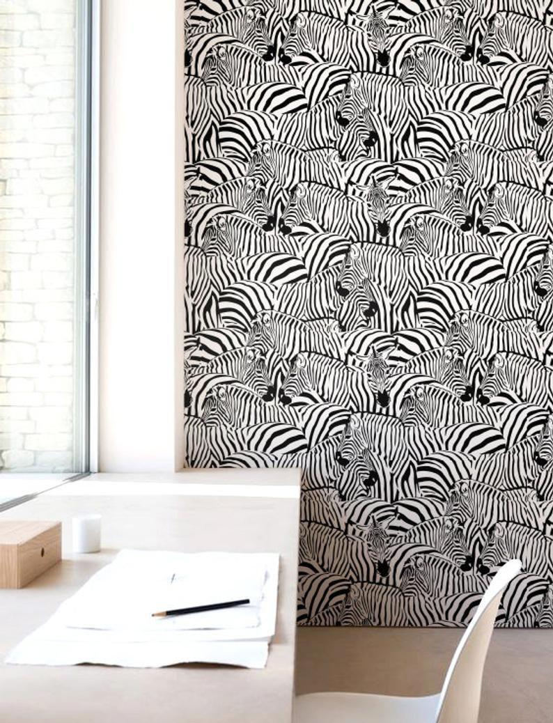 Zebra Print Wallpaper Removable Wallpaper Self Adhesive Etsy Zebra Print Wallpaper Tropical Wall Decor Print Wallpaper