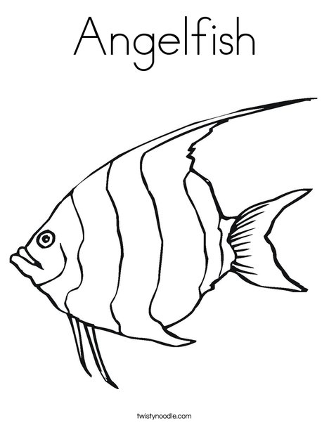 Angelfish Coloring Page Twisty Noodle Angel Fish Animal Coloring Pages Fish Coloring Page