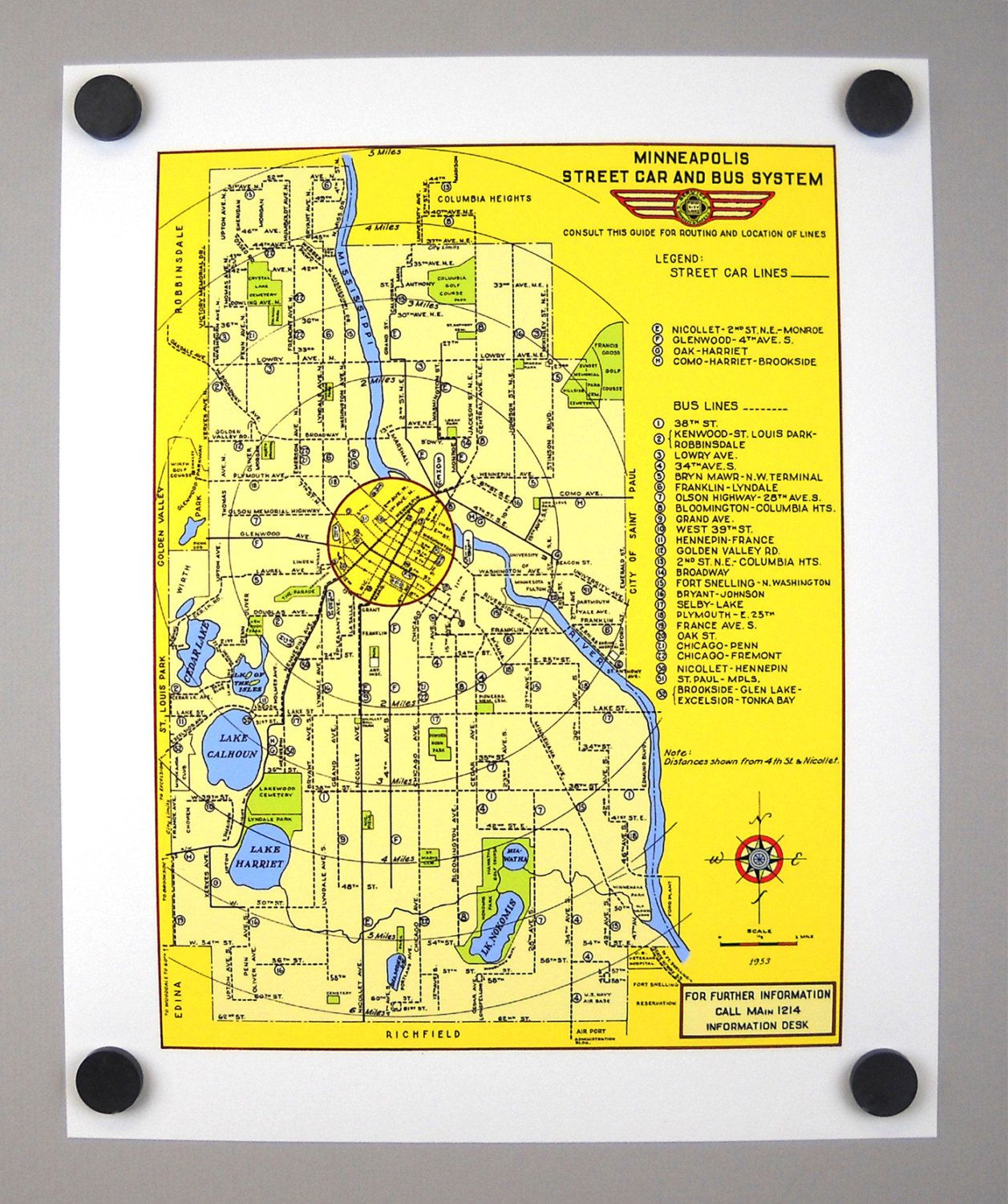 Minneapolis Archival Print Giclee Streetcar Bus Vintage Map 1953