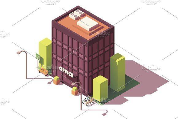 Vector isometric office building also bucks bizz video rh in pinterest