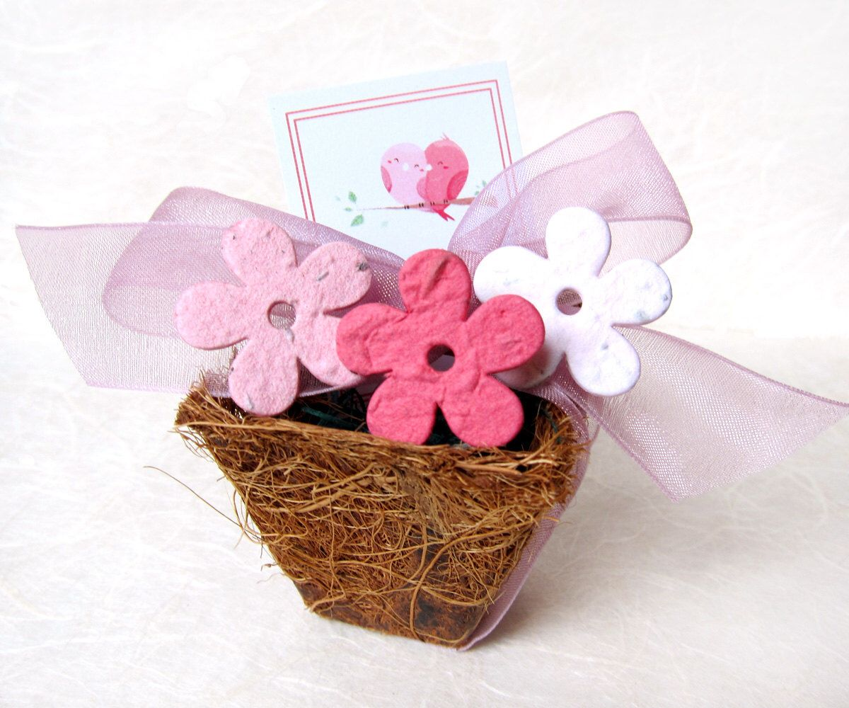 55 Wedding Favors - Plantable Paper and Plantable Pots - Spring ...