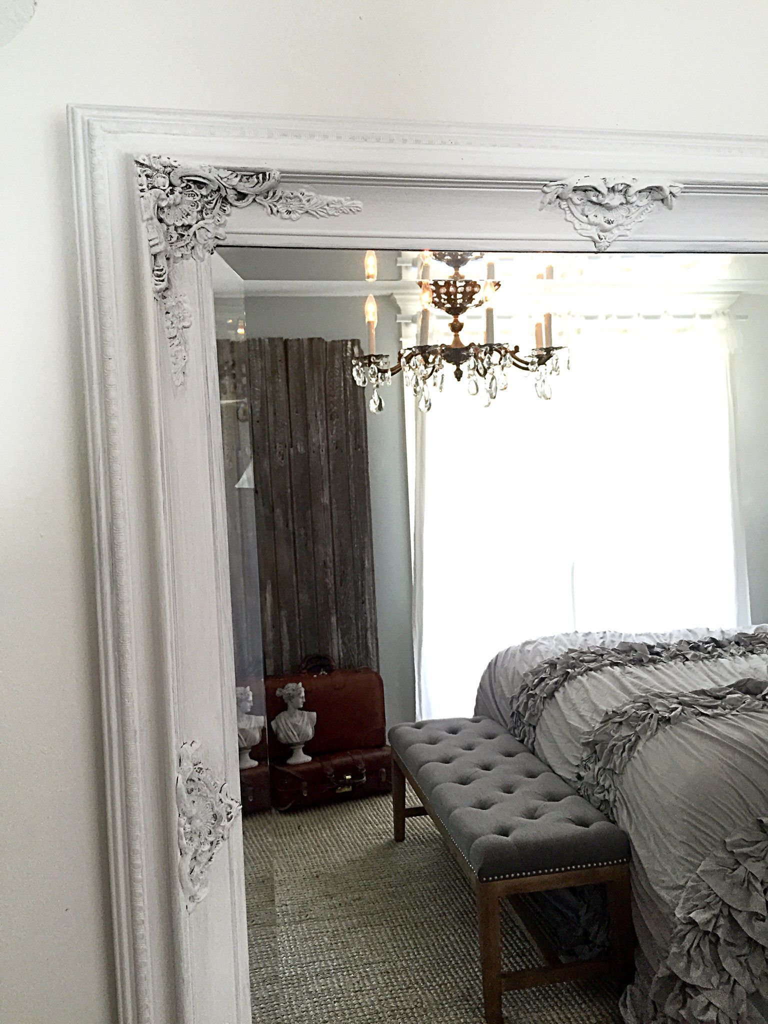 French Shabby Cottage Chic Mirror White Chalk Paint