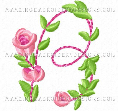 Free Embroidery Design Pretty Small Flowers Font Letter B Free